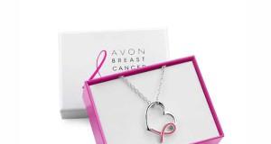 Posrebrzany naszyjnik z zawieszką w kształcie serca z Różową Wstążką AVON , regularna cena: 15,00 zł