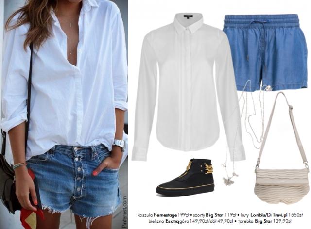 Stylizacje z białą koszulą