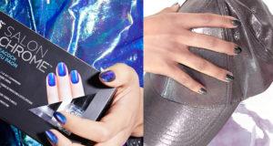 chromowy manicure, chrome nails, lakiery Sally Hansen